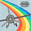 Weinlese-Flug Flugzeug Hintergrund. Vektor-Illustration