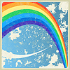Vintage Hintergrund mit Flugzeug und Regenbogen
