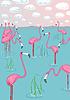Rosa Flamingos auf die Bucht. Vektor-Illustration
