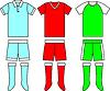 Verschiedene Fußballfußballuniformen