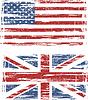 Britische und amerikanische Grunge flags