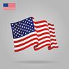 Flache- und wehende amerikanische Flagge