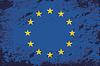 Flagge der Europäischen Union. Grunge Hintergrund