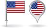 Amerikanischen Pin-Symbol und Kartenzeiger flag