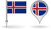 Icelandic Pin-Symbol und Kartenzeiger flag