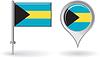 Bahamas-Pin-Symbol und Kartenzeiger flag