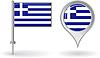 Griechisch-Pin-Symbol und Kartenzeiger flag