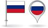 Russian-Pin-Symbol und Kartenzeiger flag