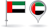Vereinigte Arabische Emirate Pin-Symbol und Kartenzeiger flag