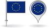 EU-Pin-Symbol und Kartenzeiger flag