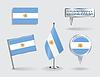 Set argentinischen pin, Symbol und Kartenzeiger flags