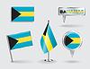 Set Bahamas Stift, Symbol und Kartenzeiger flags