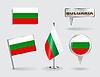 Set Bulgarian pin, Symbol und Kartenzeiger flags