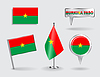 Set von Burkina Faso Stift, Symbol und Kartenzeiger flags