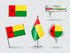 Set von Guinea-Bissau Stift, Symbol und Kartenzeiger flags