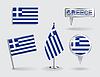 Satz von griechischen Stift, Symbol und Kartenzeiger flags