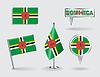 Set Dominikanische pin, Symbol und Kartenzeiger flags