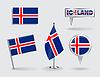 Set Icelandic pin, Symbol und Kartenzeiger flags