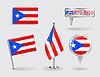 Set von puerto-ricanische Stift, Symbol und Kartenzeiger flags