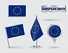 Set von Stift, Symbol Europäische Union und Kartenzeiger