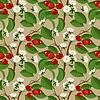 Nahtlose Muster mit Kirschen Beeren und Blüten | Stock Vektrografik