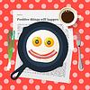 Lustige Frühstück, lächelndes Gesicht machen mit Spiegeleier