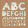 Alphabet und Zahlen, Papiermodelle Design, aus b geschnitten