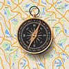 Векторный клипарт: Старый компас на фоне карты