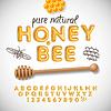 Lateinische Alphabet und Zahlen aus Honig