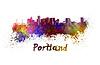 ID 4513065 | Portland skyline in watercolor | Stockowa ilustracja wysokiej rozdzielczości | KLIPARTO