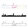Векторный клипарт: Кардифф горизонты линейном стиле с радугой