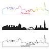 Векторный клипарт: Ковентри горизонты линейном стиле с радугой