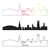 Векторный клипарт: Дерби горизонты линейном стиле с радугой