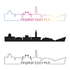 Kingston Upon Hull Skyline linearen Stil mit Regenbogen