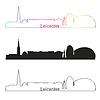 Векторный клипарт: Лестер горизонты линейном стиле с радугой