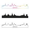Векторный клипарт: Оксфорд горизонты линейном стиле с радугой