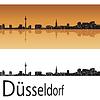 Векторный клипарт: Дюссельдорф горизонт в оранжевом фоне