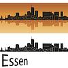 Векторный клипарт: Эссен горизонт в оранжевом фоне