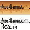 Векторный клипарт: Чтение горизонт в оранжевом фоне