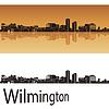 Wilmington Skyline im orangefarbenen Hintergrund
