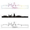 Векторный клипарт: Афины горизонт линейном стиле с радугой