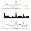 Векторный клипарт: Брюгге горизонт линейном стиле с радугой