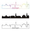 Векторный клипарт: Гронинген горизонт линейном стиле с радугой