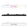 Векторный клипарт: Анн-Арбор горизонт линейном стиле с радугой