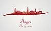 Векторный клипарт: Брюгге горизонт в красном