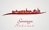 Векторный клипарт: Гронинген горизонт в красном