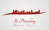 St. Petersburg Skyline in rot