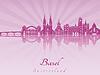 Векторный клипарт: Базель горизонт в фиолетовый сияющий орхидеей