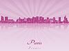 Векторный клипарт: Париж V2 горизонт в фиолетовый сияющий орхидеей