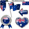 Glänzend Icons mit Flagge von Australien